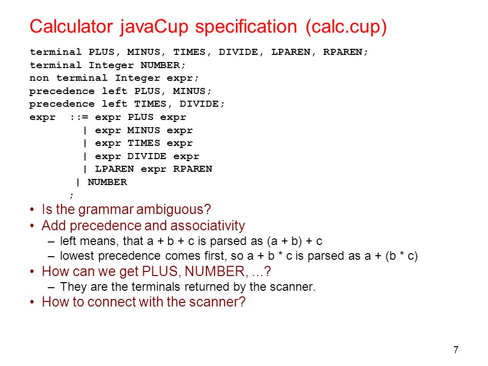 Calculator javaCup specification (calc.cup)