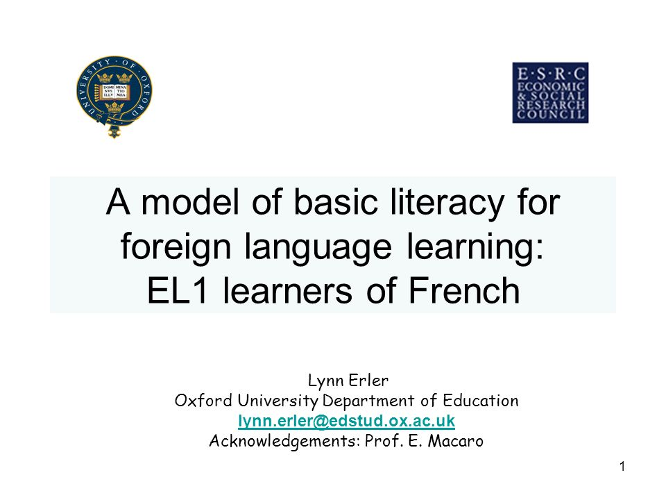 A model of basic literacy for foreign language learning: EL1 learners of French