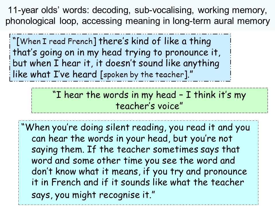 I hear the words in my head – I think it's my teacher's voice