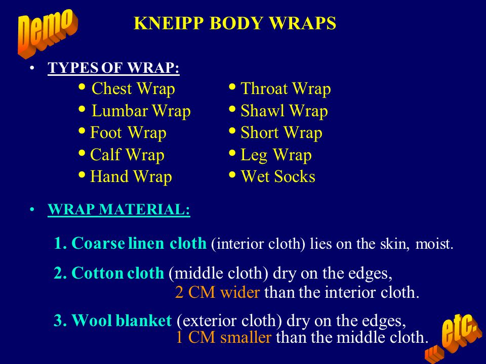 ... etc. • Chest Wrap • Throat Wrap • Lumbar Wrap • Shawl Wrap