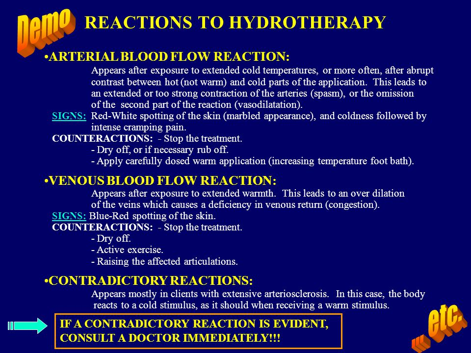 REACTIONS TO HYDROTHERAPY