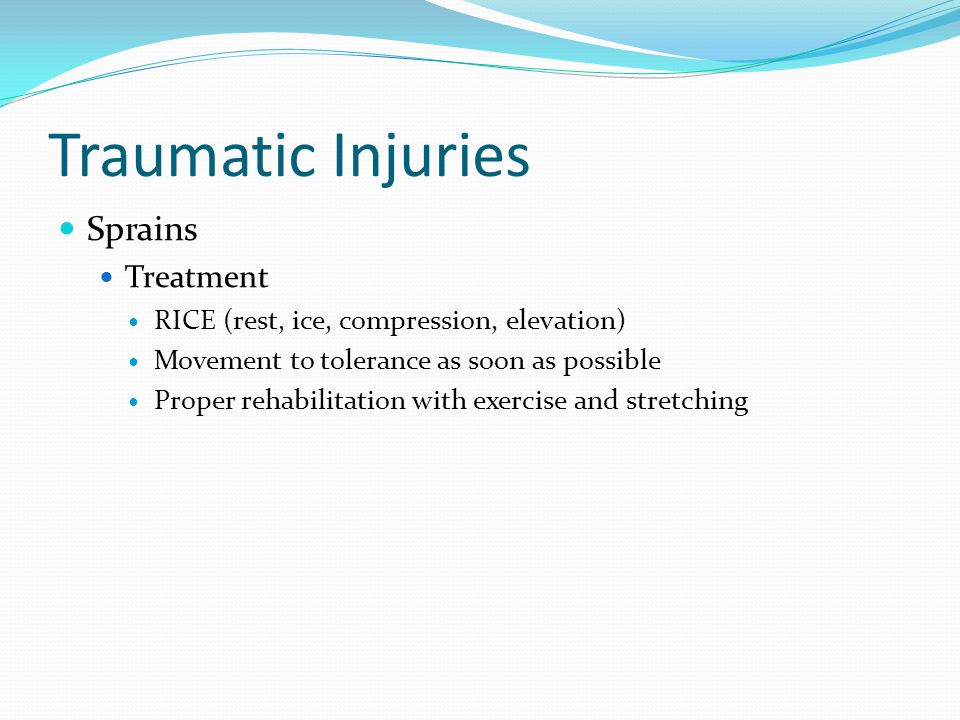 Traumatic Injuries Sprains Treatment