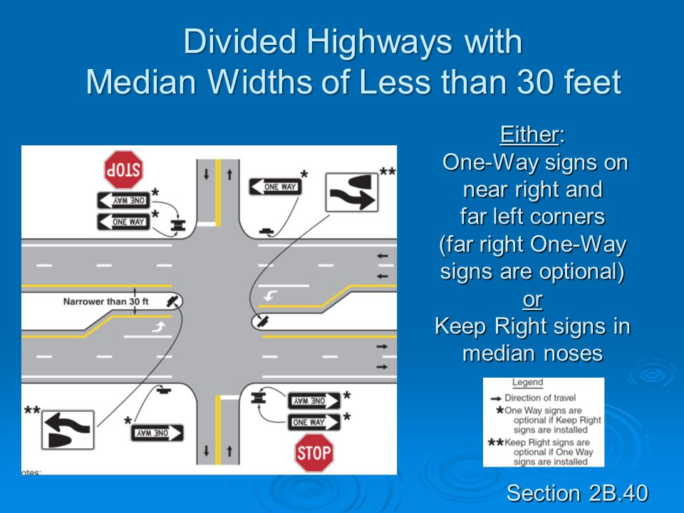 Divided Highways with Median Widths of Less than 30 feet