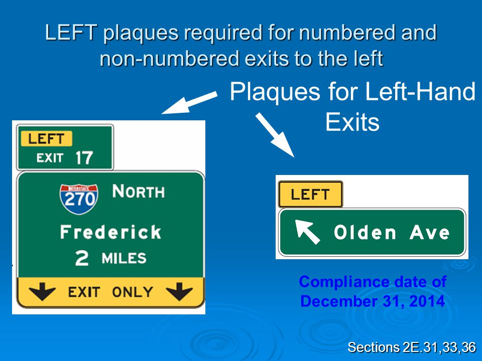 LEFT plaques required for numbered and non-numbered exits to the left