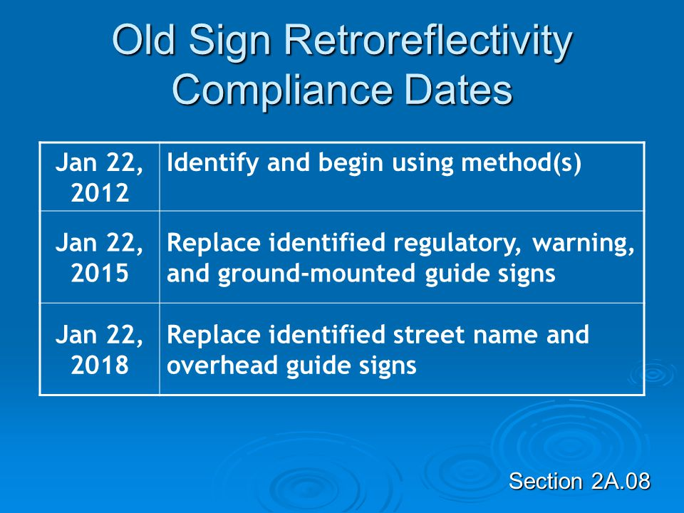 Old Sign Retroreflectivity Compliance Dates