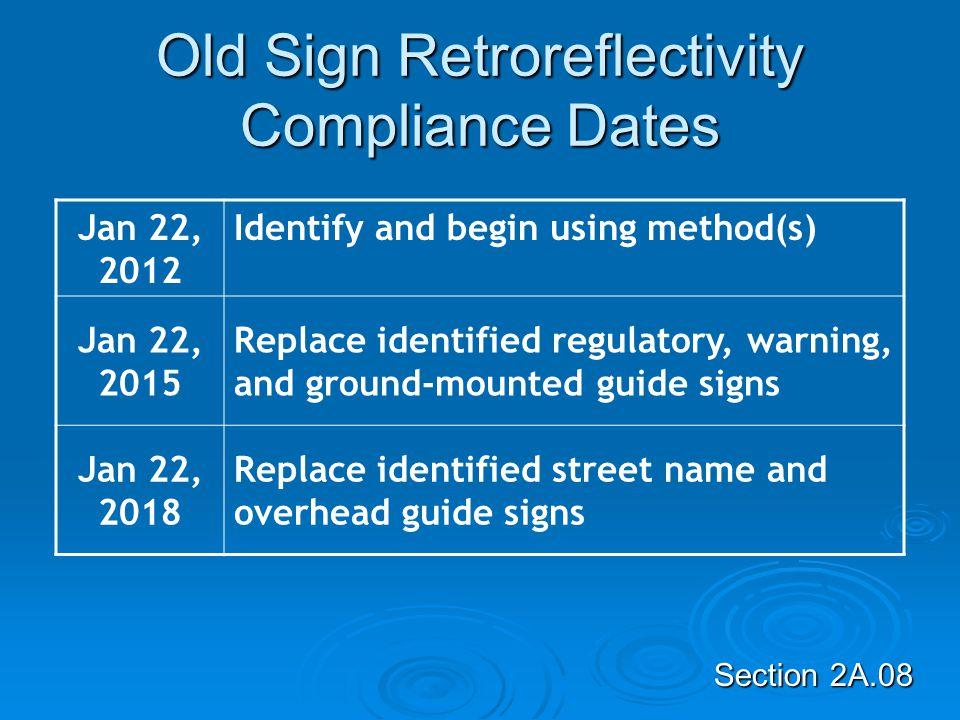 Old Sign Retroreflectivity Compliance Dates
