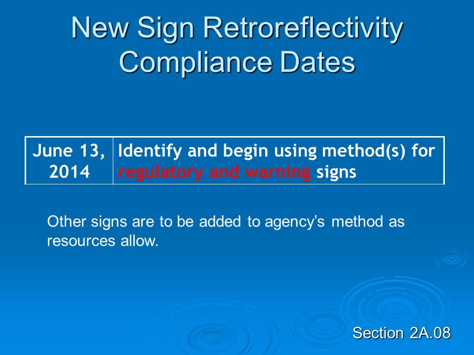 New Sign Retroreflectivity Compliance Dates