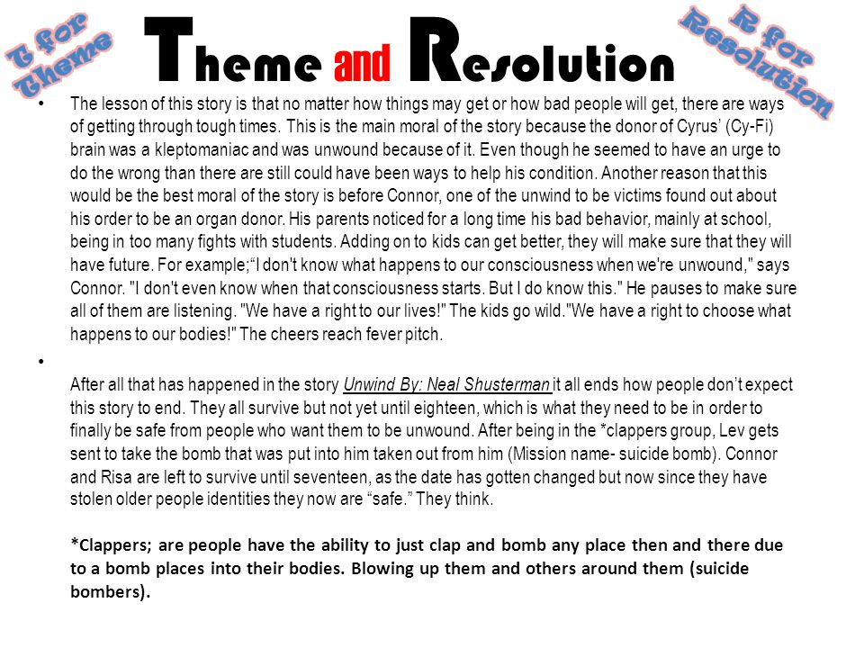 Theme and Resolution T for Theme R for Resolution