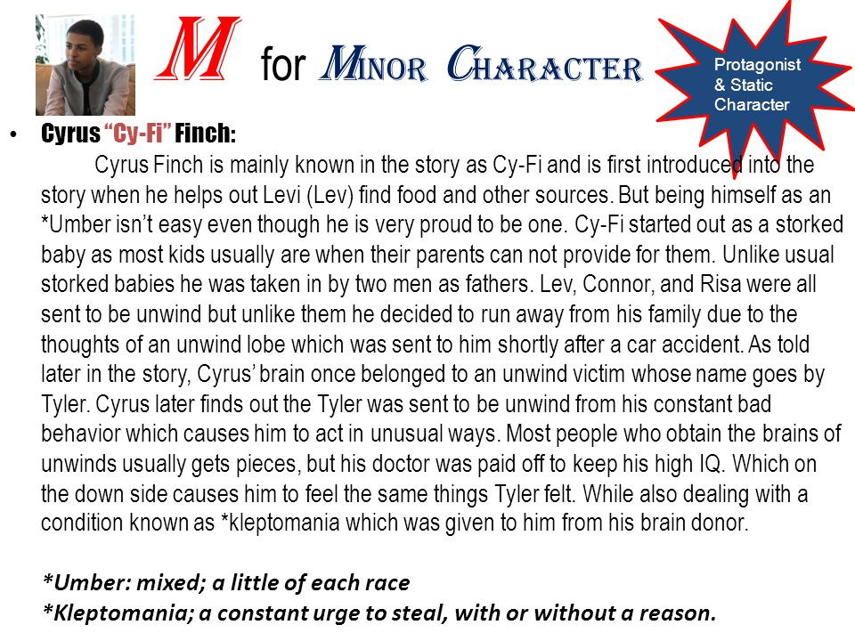 M for Minor Character Protagonist & Static Character.