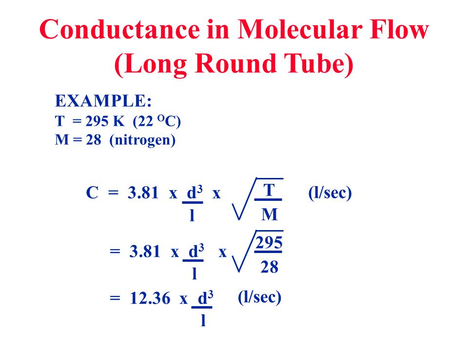 Conductance in Molecular Flow (Long Round Tube)