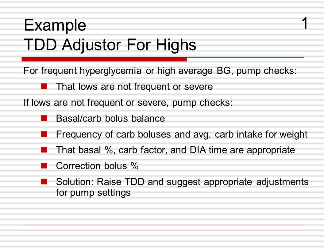 Example TDD Adjustor For Highs