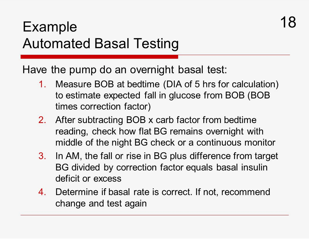 Example Automated Basal Testing