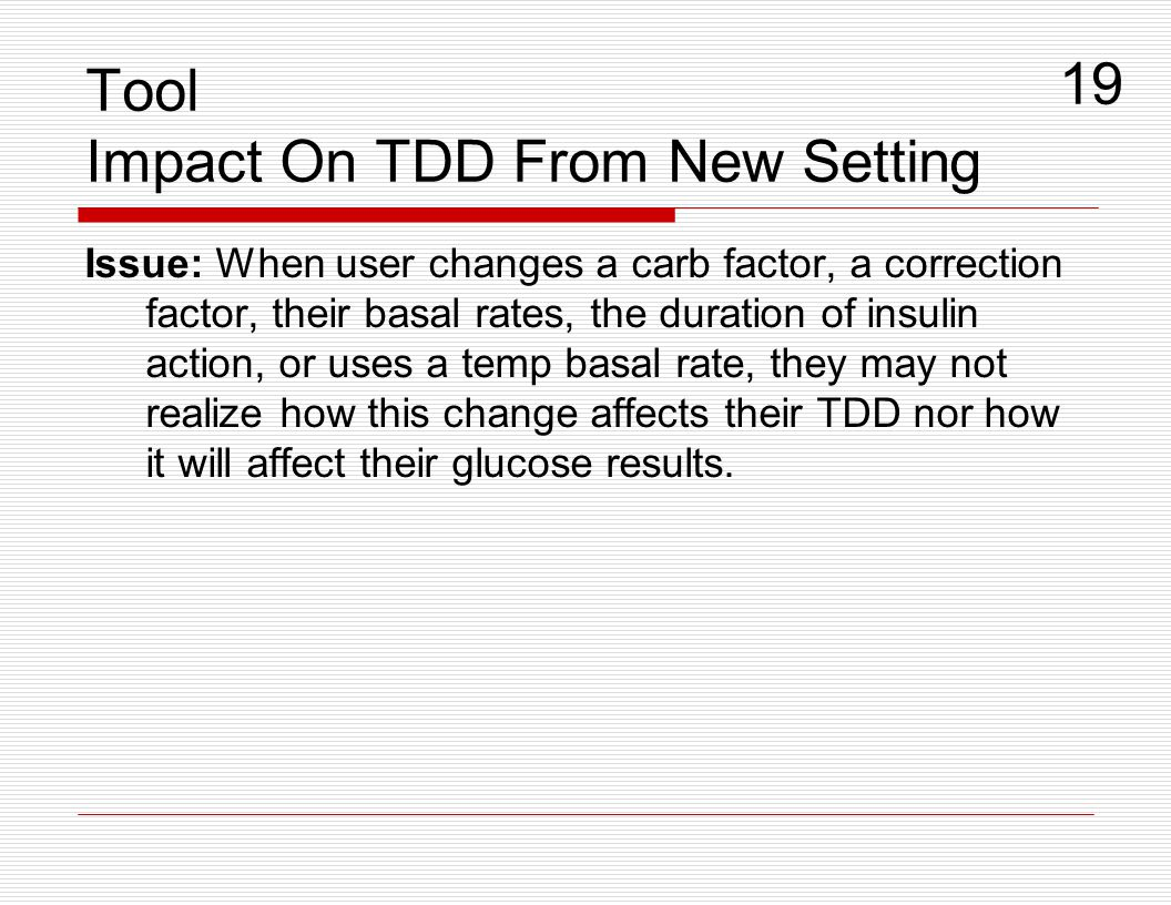 Tool Impact On TDD From New Setting