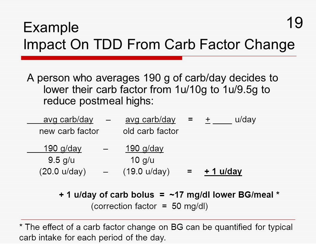 Example Impact On TDD From Carb Factor Change