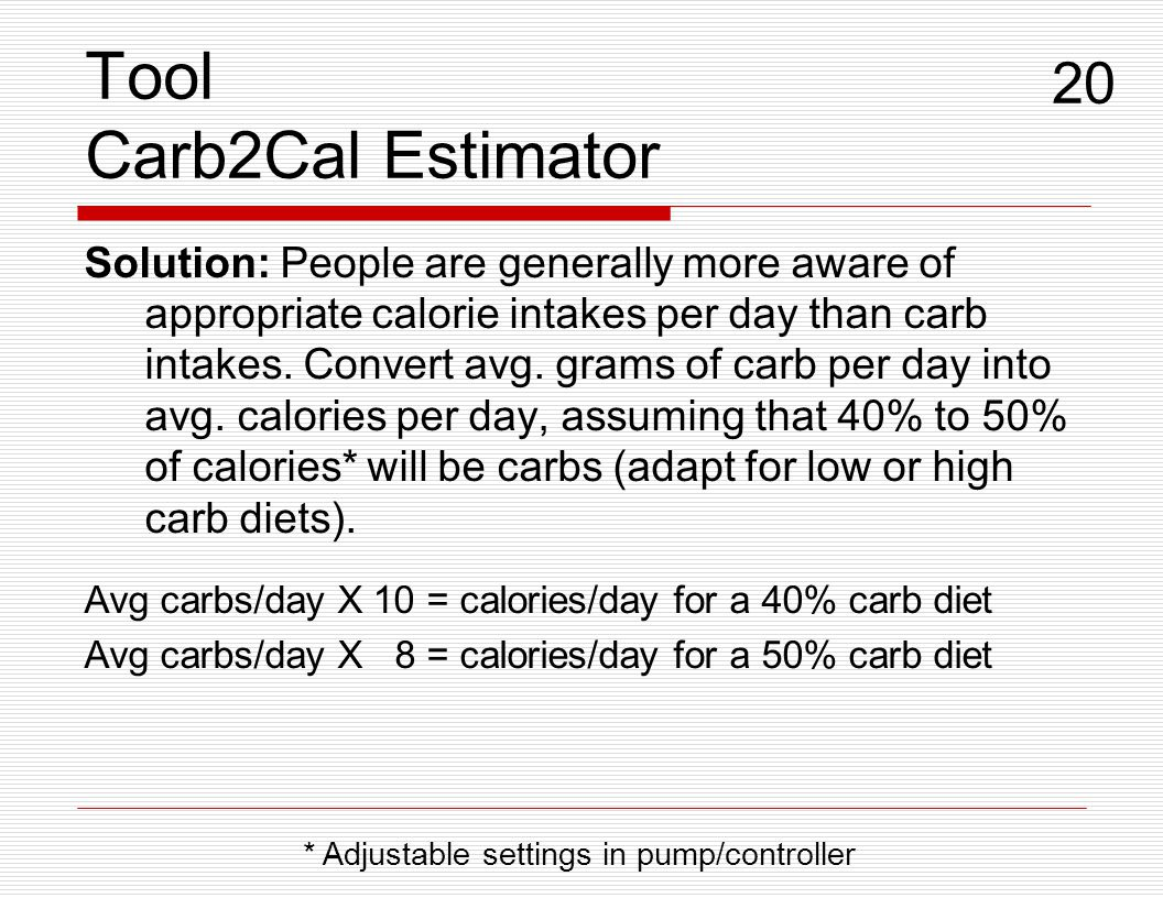 Tool Carb2Cal Estimator