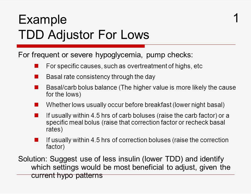 Example TDD Adjustor For Lows
