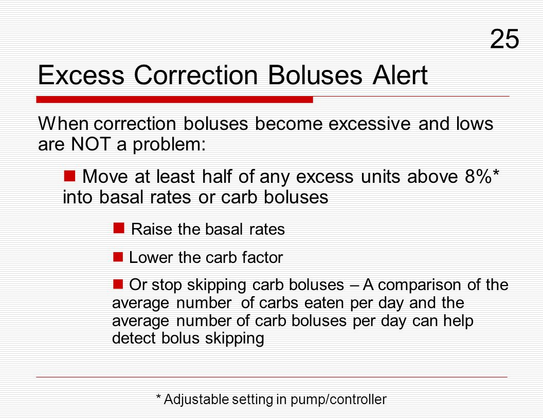 Excess Correction Boluses Alert