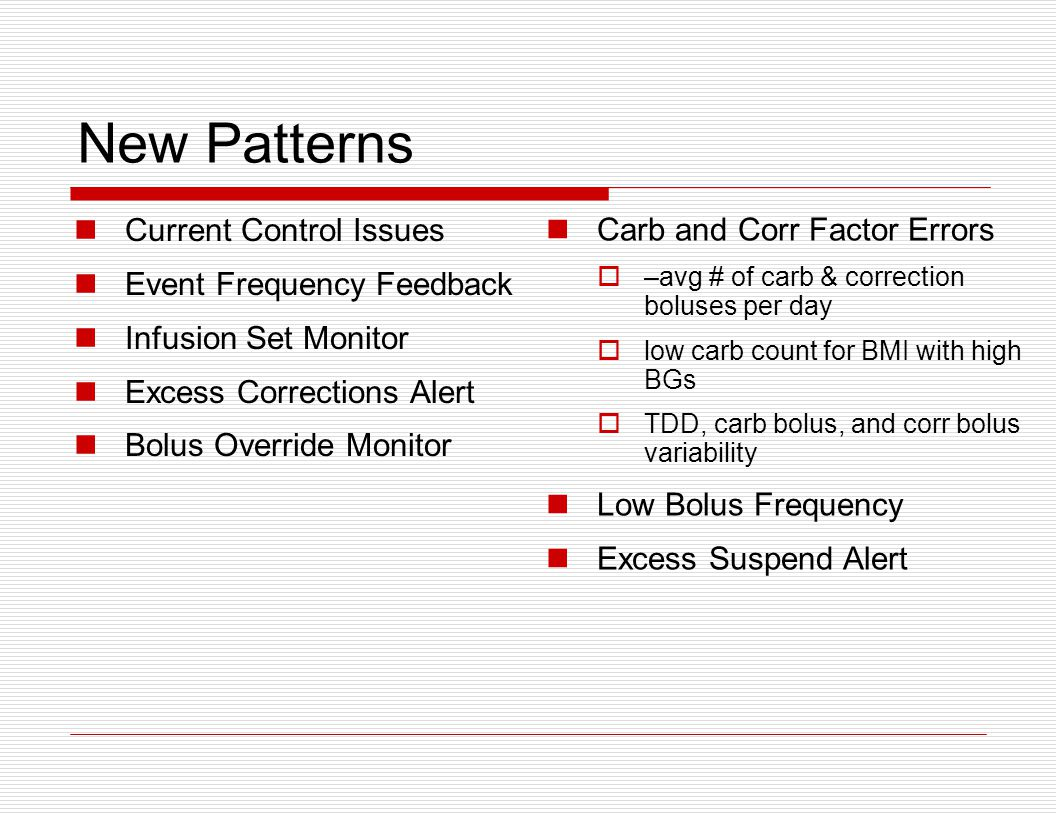 New Patterns Current Control Issues Event Frequency Feedback