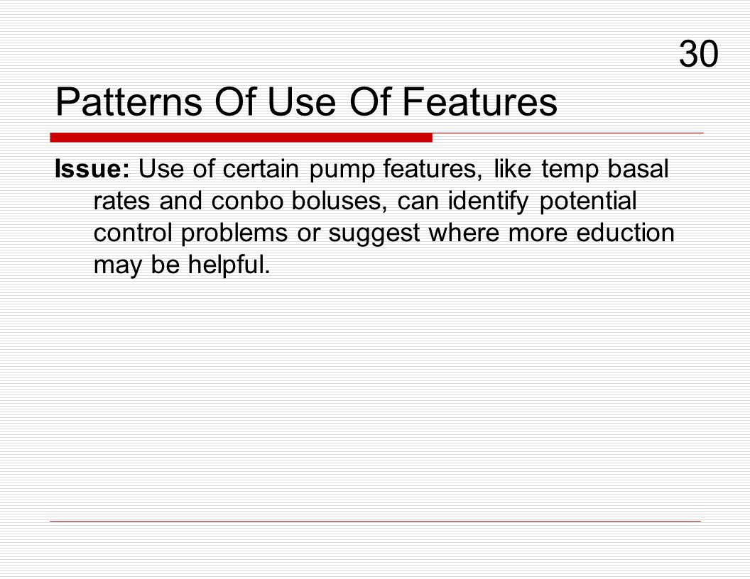Patterns Of Use Of Features