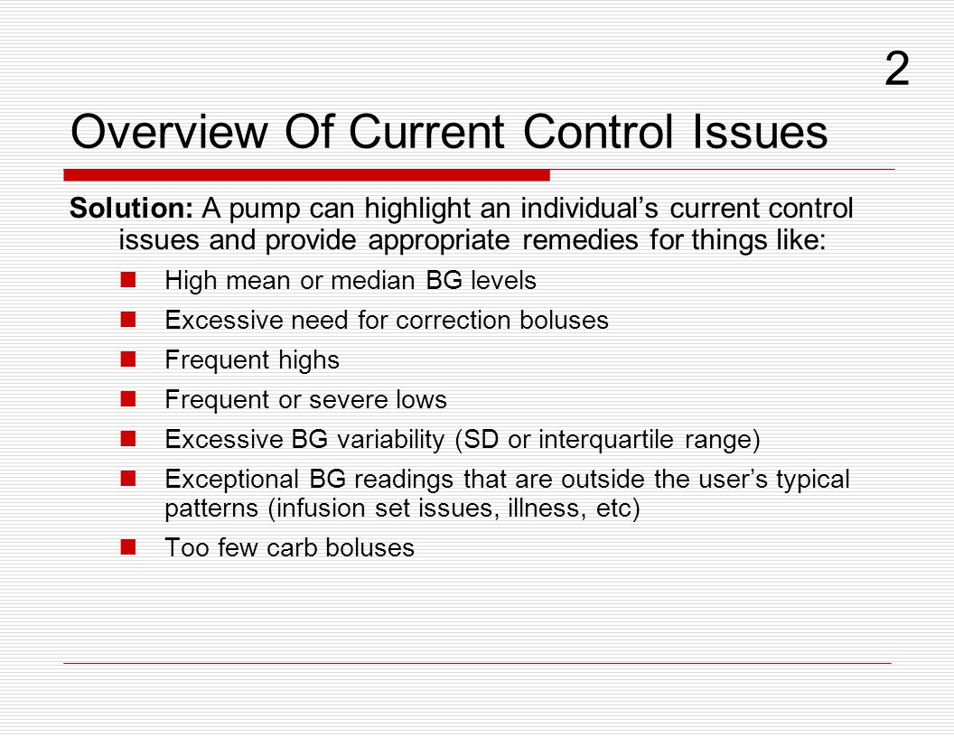 Overview Of Current Control Issues