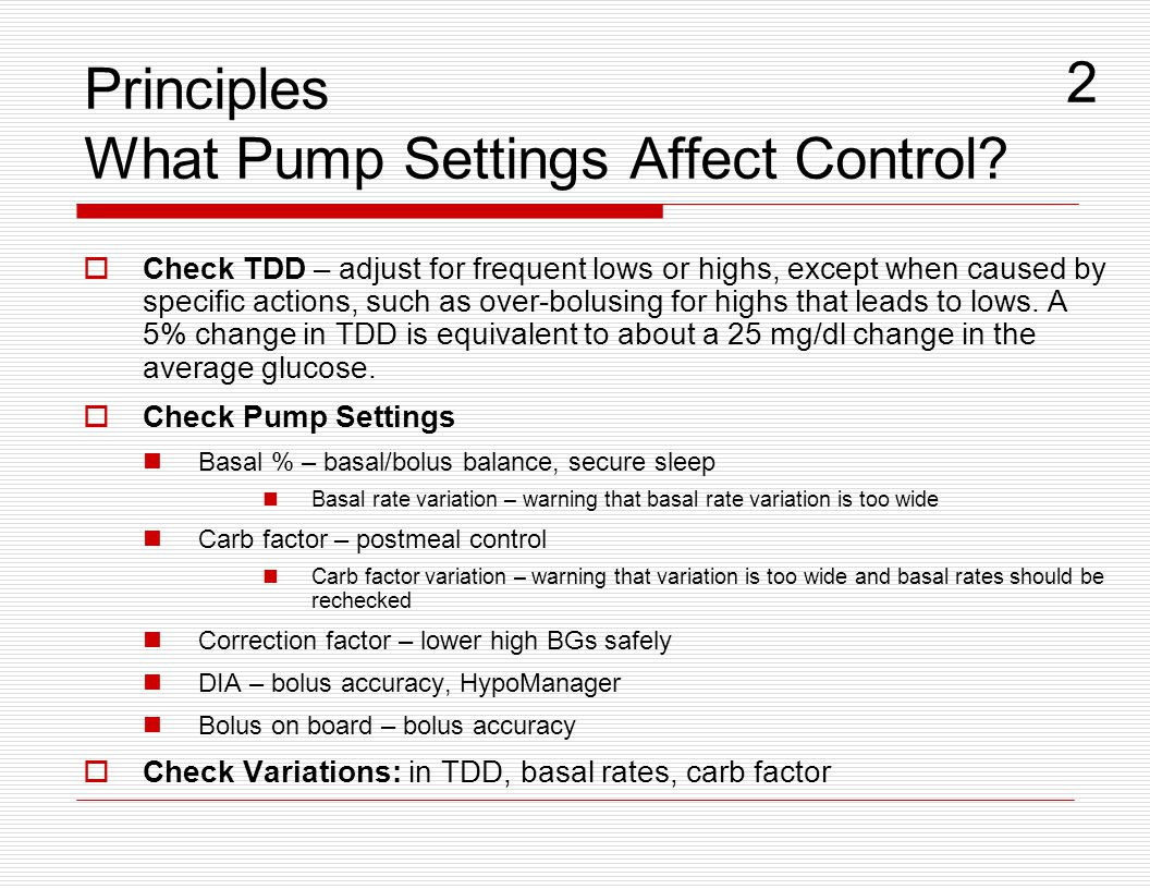 Principles What Pump Settings Affect Control