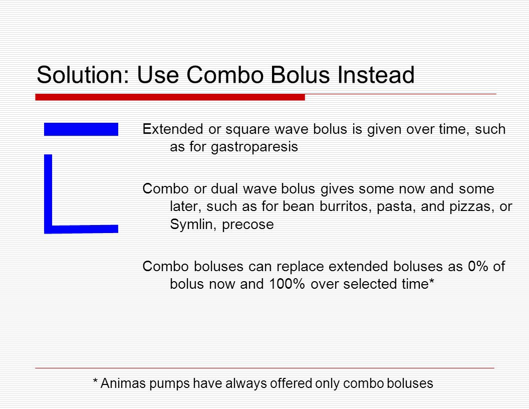 Solution: Use Combo Bolus Instead