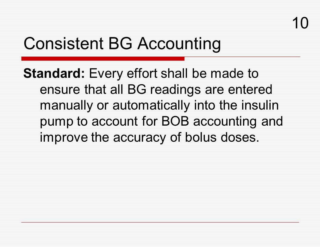 Consistent BG Accounting