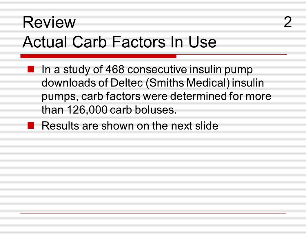Review Actual Carb Factors In Use