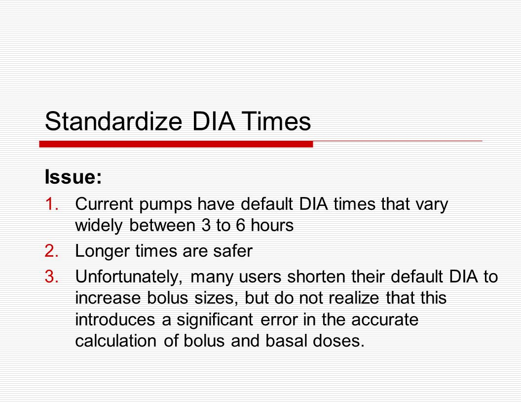 Standardize DIA Times Issue: