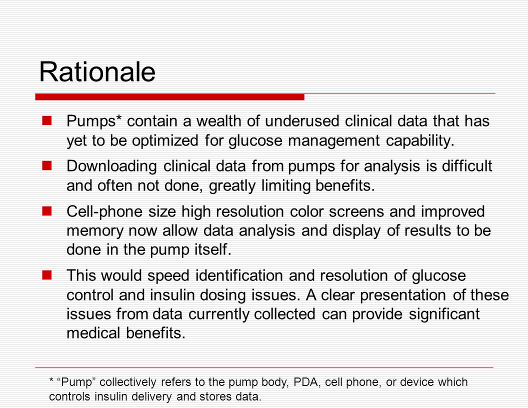 Rationale Pumps* contain a wealth of underused clinical data that has yet to be optimized for glucose management capability.