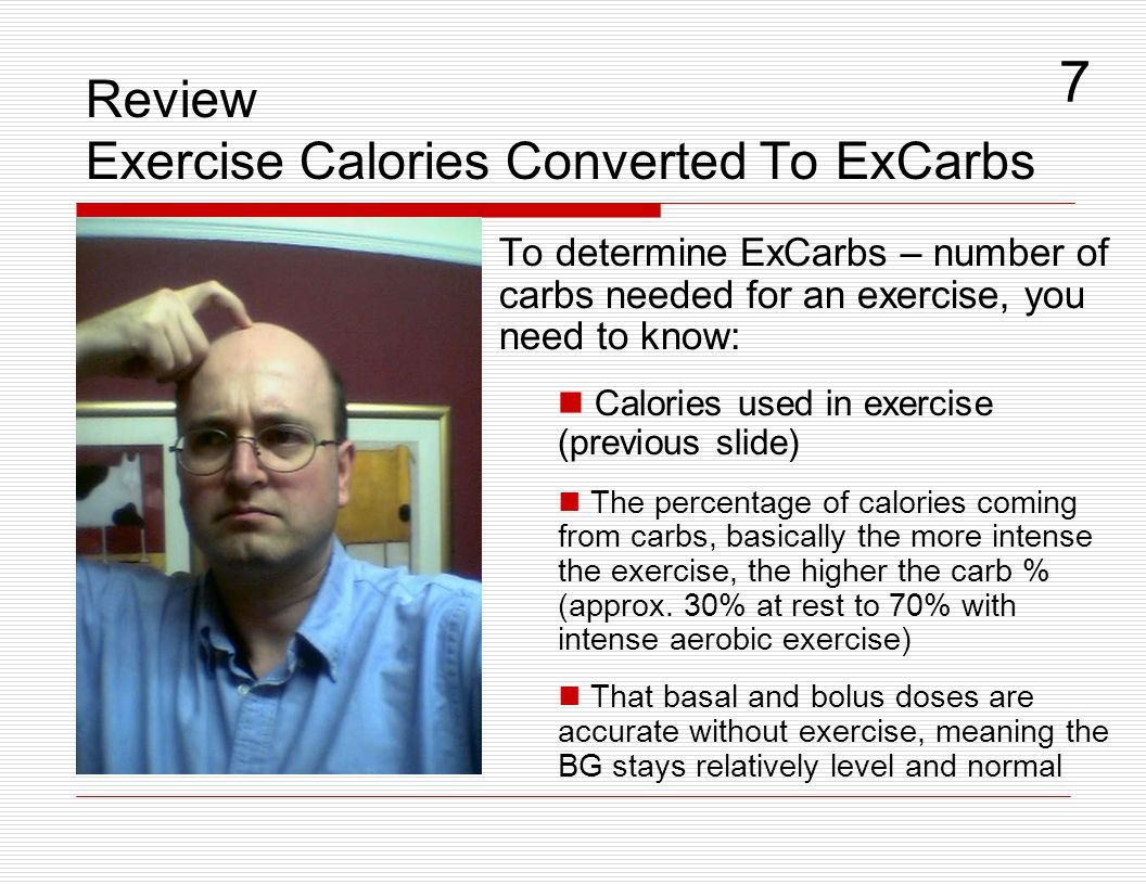 Review Exercise Calories Converted To ExCarbs