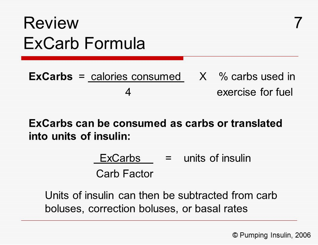 ExCarbs = units of insulin
