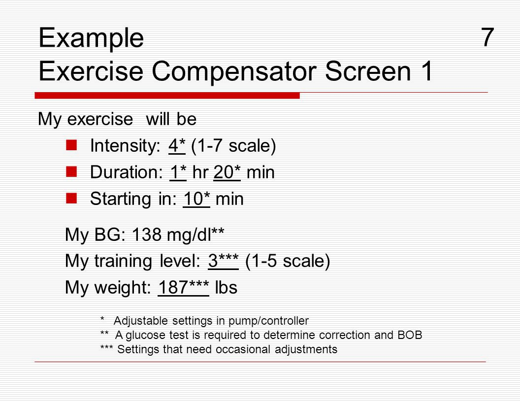 Example Exercise Compensator Screen 1