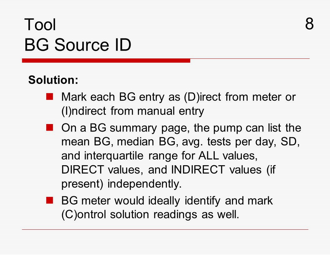Tool BG Source ID 8 Solution: