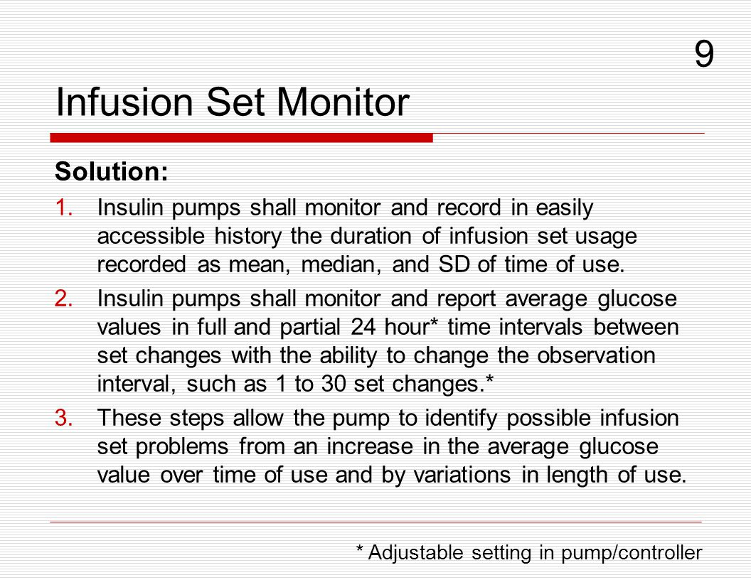 Infusion Set Monitor 9 Solution: