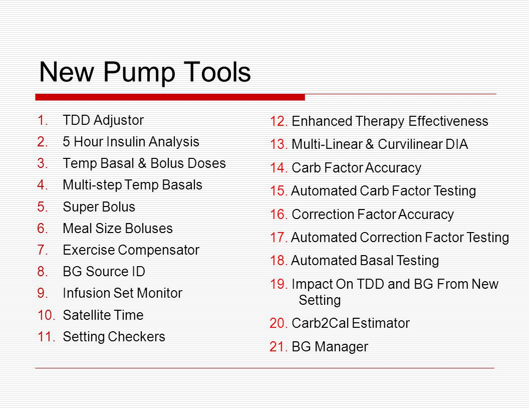 New Pump Tools TDD Adjustor 5 Hour Insulin Analysis