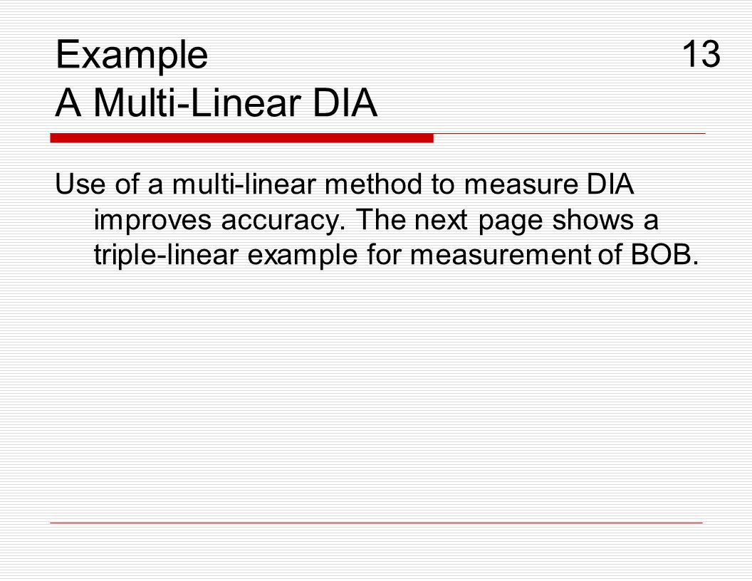 Example A Multi-Linear DIA
