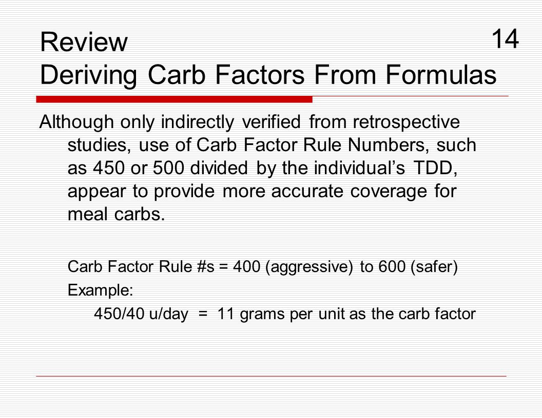 Review Deriving Carb Factors From Formulas