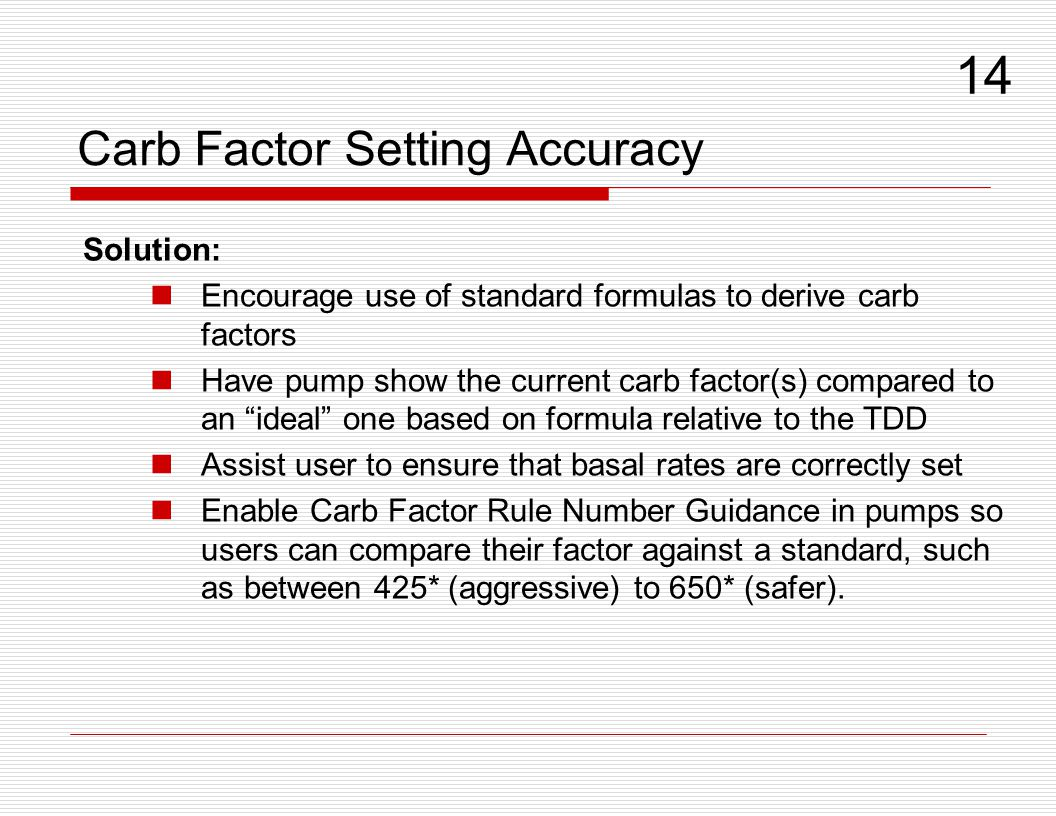 Carb Factor Setting Accuracy