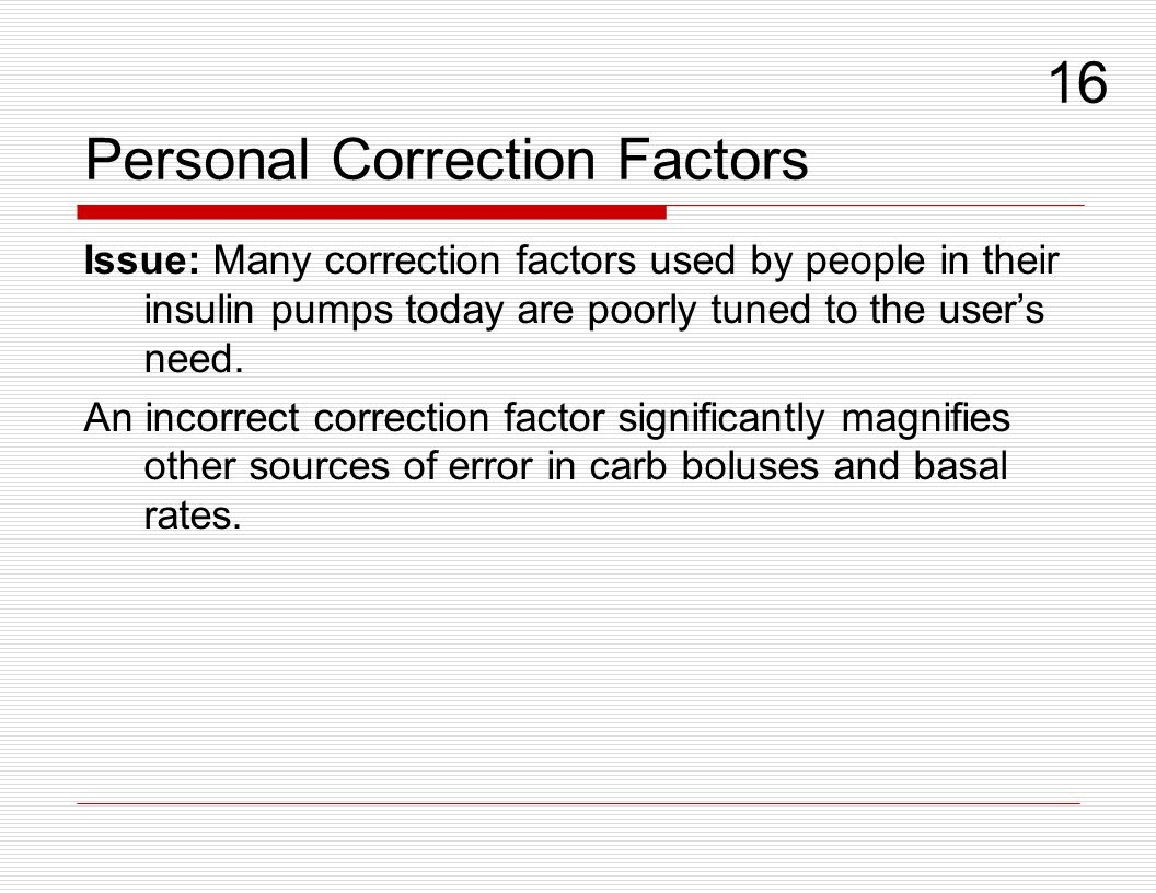 Personal Correction Factors