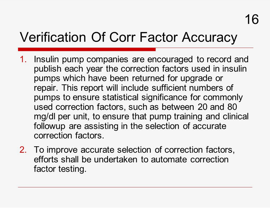 Verification Of Corr Factor Accuracy