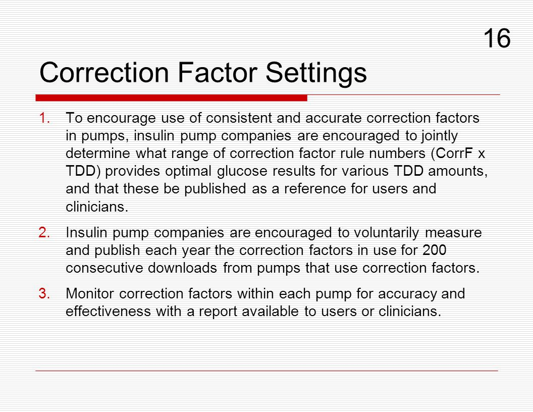 Correction Factor Settings