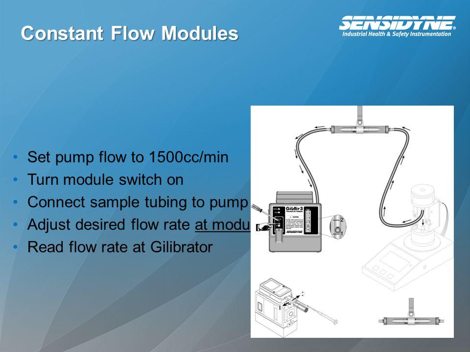 Constant Flow Modules Set pump flow to 1500cc/min