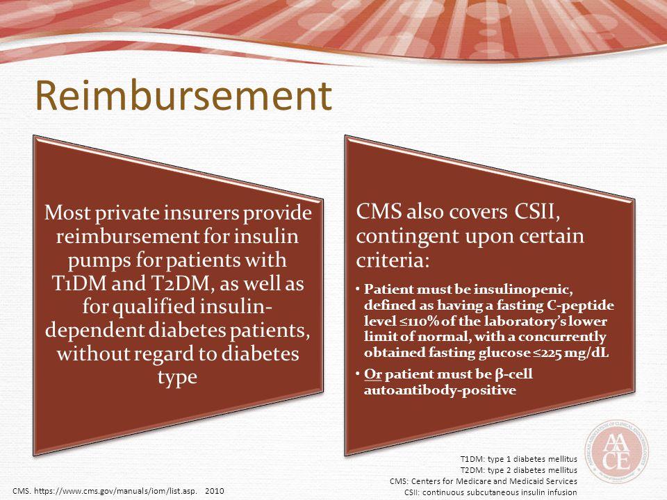 Reimbursement CMS also covers CSII, contingent upon certain criteria: