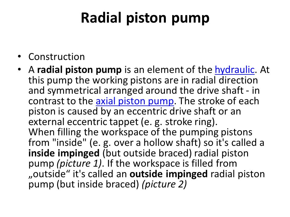 Radial piston pump Construction