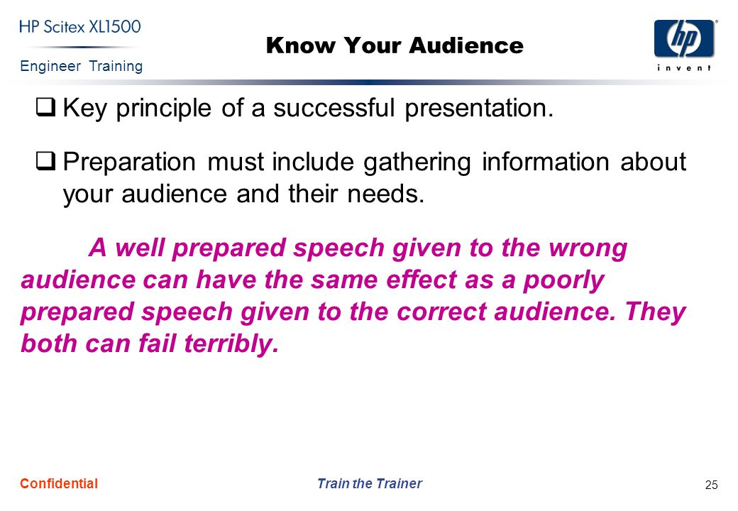 Key principle of a successful presentation.
