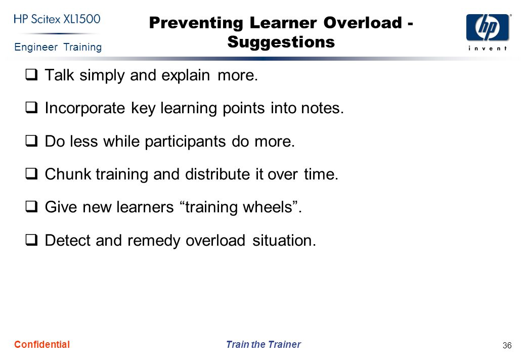 Preventing Learner Overload - Suggestions
