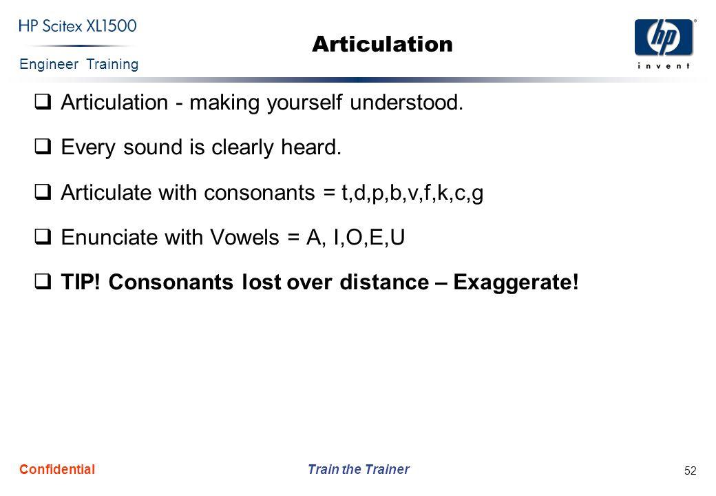 Articulation - making yourself understood.