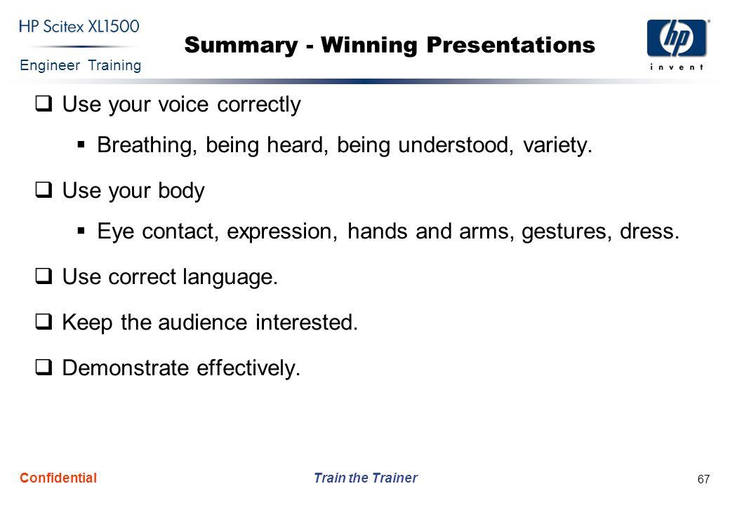 Summary - Winning Presentations