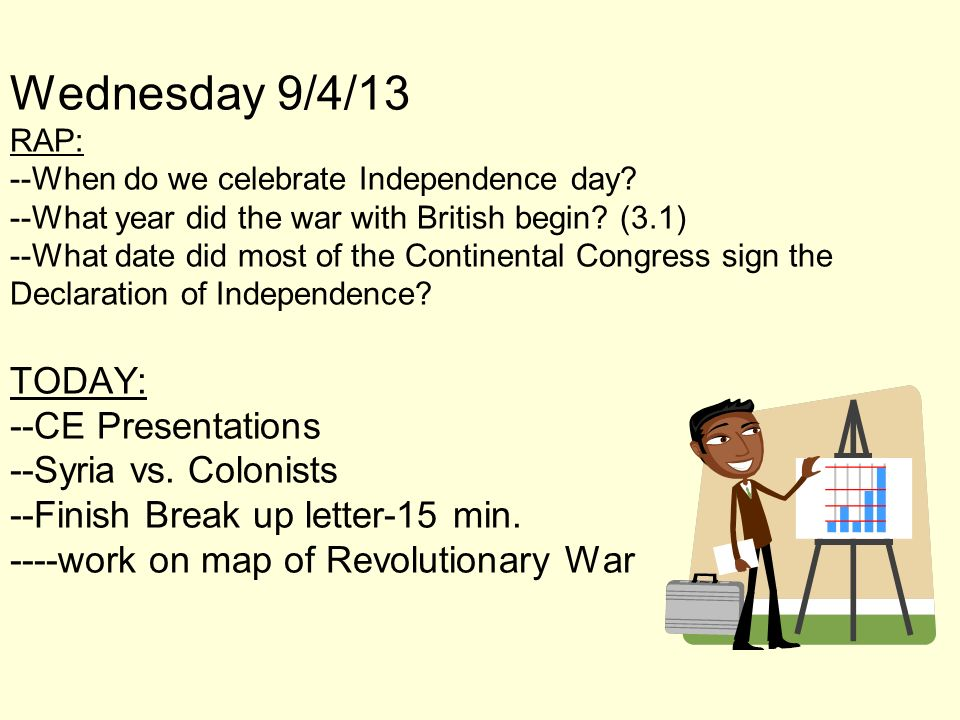 Wednesday 9/4/13 RAP: --When do we celebrate Independence day